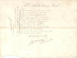 ESCRITOR RICARDO MUÑOZ SONETO INEDITO? NOVIEMBRE DEL AÑO 1908 - Manoscritti