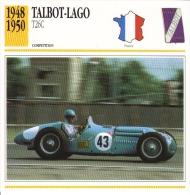Fiche  -  Early Grand Prix Cars  -  Talbot-Lago T26C  -  1948  -  Carte De Collection - Grand Prix / F1