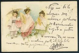 Three Small Geisha. Verlag Von Wezel&Naumann, Leipzig ----- Old Postcard Traveled - Non Classés