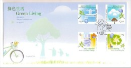 FDC 2011 Hong Kong Green Living Stamps Water Energy Spigot Light Bulb Recyciling Globe Bird Tree Bicycle - 1997-... Chinese Admnistrative Region