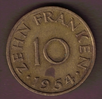SAARLAND 10 FRANKEN 1954 - Saar