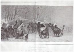 """GRAVURE D Epoque   1876 """"une Journee D Hiver En Hollande  """"  Kaemmerer   Pelissier   Goup Pays Bas  Amsterdam  Luge - Non Classés"""