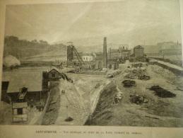 Vue Générale Du Puits De Mine De La Loire Pendant Le Chomage , Gravure De 1900 - Documents Historiques