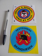 Autocollant - Pompiers - BRANDVAESEN- BRAND & REDNING - DANEMARK - Adesivi