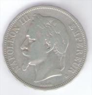 FRANCIA 5 FRANCS 1869 NAPOLEON III AG SILVER - Francia