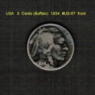 U.S.A.   5  CENTS  (BUFFALO)  1934  (KM # 134) - Federal Issues