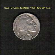 U.S.A.   5  CENTS  (BUFFALO)  1936  (KM # 134) - 1913-1938: Buffalo