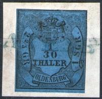 Voller Einzeiler Atens Auf 1/30 Thaler Blau - Oldenburg Nr. 2 III - Briefstück - Pracht - Oldenburg
