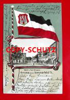 SOMMERFELD Crossen - Litho - Poststr. - Flagge Wappen - 1905 - Neumark