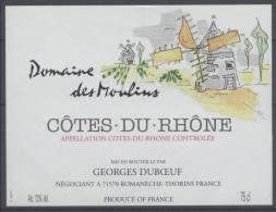 THEME MOULIN étiquette De Vin COTES DU RHONE - Windmills