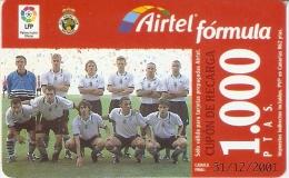 TARJETA DE AIRTEL DEL EQUIPO DE FUTBOL RACING DE SANTANDER 1000 PTAS (FOOTBALL) - Airtel