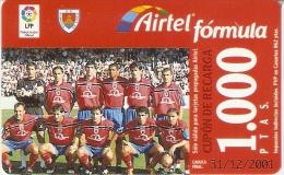 TARJETA DE AIRTEL DEL EQUIPO DE FUTBOL NUMANCIA 1000 PTAS (FOOTBALL) - Airtel