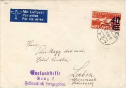 Schweiz - Flugpost Brief - Richen Bei Basel Nach Leoben - Auslandsstelle Graz 2 - Zollamtlich - Svizzera