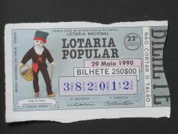 PORTUGAL        LOTARIA POPULAR   - 22ª 29-05-1990  -  2 Scans  (Nº04681) - Billets De Loterie