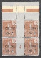 Chine.: Dallay 34**; MNH; Millésime 4; Gomme Coloniale;  RR; Cote 275.00€; Voir Scan