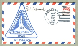 BELGIUM´S FIRST ASTRONAUT- DIRK FRIMONT- LAUNCH COVER  SIGNED -  STS-45 MISSION - Briefe U. Dokumente