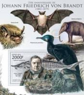 tg12208b Togo 2012 Johan Friedrich von Brandt  s/s Bat Elephant Fish Bird Michel: 4512 / Bl.718