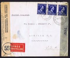 1945 Lettre  Express Double Censure: Belge Et USA  Col Ouvert 1,75fr  COB 642 X3 - 1936-1957 Open Collar