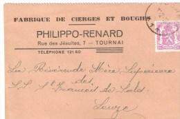 1949 - Bougies Et Cierges  PHILIPPO RENARD Tournai - Advertising