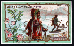 CHROMO CHOCOLAT FELIX POTIN - CANADA - ANCOLIE - INDIEN LOUP - Félix Potin