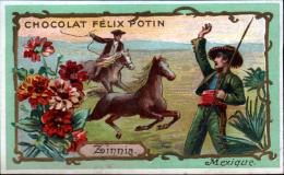 CHROMO CHOCOLAT FELIX POTIN - MEXIQUE - ZINNIA - CHEVAUX SAUVAGES - Félix Potin