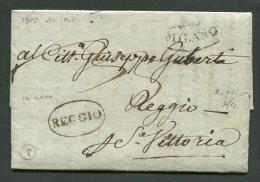 1805  RARA PREFILATELICA  DA  MILANO    X  REGGIO EMILIA    TASSAZIONE 33 - 1. ...-1850 Prefilatelia