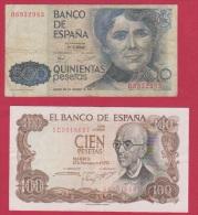 ESPAGNE //  Billet De 100 Et 500 Pésétas - [ 9] Collections
