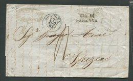 1852  RARA PREFILATELICA  DA BOLOGNA  X   LA  SPEZIA    VIA DI SARZANA - 1. ...-1850 Prefilatelia