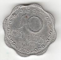 Ceylon 10 Cents  1978  Km 140a   Vf+ - Sri Lanka