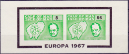 11067# CALF OF MAN ISLE OF MAN EUROPA 1967 SIR WINSTON CHURCHILL 1874 1965 BLOCK LOCAL ISSUE MHN ** - Local Issues