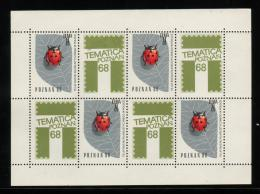 POLAND 1968 TEMATICA POZNAN PHILATELIC EXPO S/S NHM TYPE 1 INSECTS LADYBIRD CINDERELLA - Esposizioni Filateliche