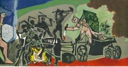 Carte Format  25 X 11 Cm   Reproduction De Tableau De Picasso La Guerre Vallauris  Cercle D'arc Paris 1962 - Artistes