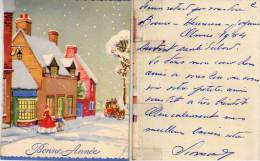 Bonne Année - Paysage De Neige - Plusieurs Volets Avec Découpis Donnant Du Relief     (63199) - Victorian Die-cuts