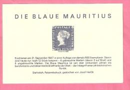 MAURITIUS BLOCK MET NACHDRUECK BLAUE MAURITIUS MNH NOT ORIGINAL - Vignettes De Fantaisie