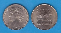 PORTUGAL  25 ESCUDOS 1.977  CU NI  KM#607  EBC/SC  XF/UNC   T-DL-10.658 - Portugal