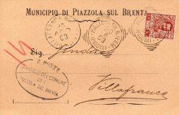 1903  CARTOLINA CON ANNULLO PIAZZOLA  SUL BRENTA PADOVA - 1900-44 Vittorio Emanuele III