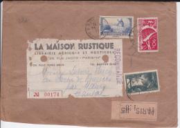 1937 - ENVELOPPE GD FORMAT RECOMMANDEE De PARIS Pour Le CANTAL (MAURS) - Marcofilie (Brieven)