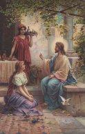 Jesus  With Mary & Martha   S-675 - Jesus