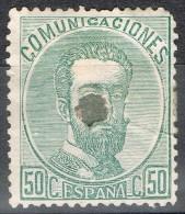 Sello 50 Cts Amadeo 1872, Perforado Telegrafos,  Num 126 T º - 1872-73 Reino: Amadeo I