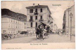 VENTIMIGLIA (IM) - VIA CAVOUR DA PONENTE - CARROZZA  - F/P - V: PRIMI '900 - Imperia