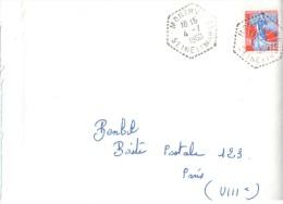 2520  MONTRY Seine Et Marne Lettre Marianne à La Nef 0,25F Yv 1234 Ob 1960 Hexagone Pointillé Agence Postale Lautier F7 - Postmark Collection (Covers)