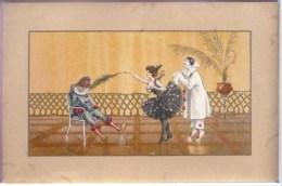 Litho Aspect Doré PRECURSEUR ILLUSTRATEUR  HARDY ? BUSI ?  Pierrot Colombine Arlequin Polichinelle Plume De Paon 1900 - Hardy, Florence