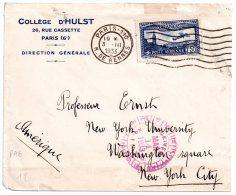 Lettre à Entête Collège D'Hulst Paris 1933 Pour Professeur Ernst New York University Timbre PA6 Oblitération Flier - Marcophilie (Lettres)