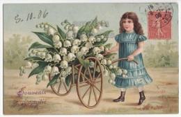 EDWARDIAN LITTLE GIRL PUSHING FLOWER CART~LILIES~1906 Embossed ART Postcard [4559] - Fancy Cards