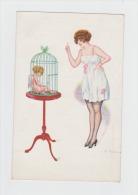 Illustrateur FABIANO - L´AMOUR PRISONNIER - Ange Bébé Angelot  Dans Une Cage Pin´up Nuisette - 1918 - N°2649 - Fabiano