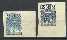 Estland Estonia 1919 Möwe Seagull Michel 10 Different Color Varieties - Dark + Light Blue - Estland