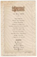 Beau Menu 1892 Inscription Menu En Relief Doré - Menu