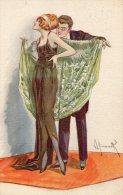 Illustrée Signée SIMONETTI : Couple Années 20 Au Châle Vert - Couples