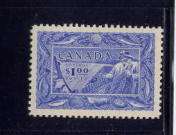 CANADA 1951, # 302, FISHING RESOURCES: FISHERMAN  With A Net And Showing 16 Types Of Fish, W Little Spots Of Disturbance - 1851-1902 Règne De Victoria