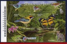 Ref. BR-V2008-13 BRAZIL 2008 - FLOWERS & PLANTS - JAPI RESERVE - ORCHIDS BUTTERFLIES, BIRDS - S/S MINT MNH 2V - Ranas